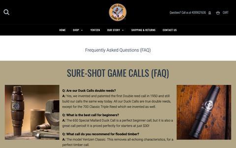 Screenshot of FAQ Page sureshotgamecalls.com - Our Story - captured Nov. 18, 2018