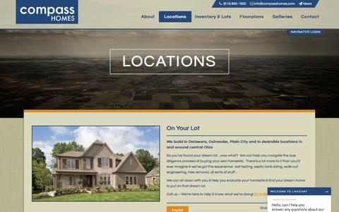Screenshot of Locations Page compasshomes.com - Homes for Sale in Upper Arlington Ohio | Compass Homes - captured July 20, 2018