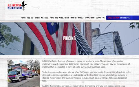 Screenshot of Pricing Page allamericanjunk.com - All American Junk Removal | Westchester County, NY | Pricing - captured Oct. 3, 2018