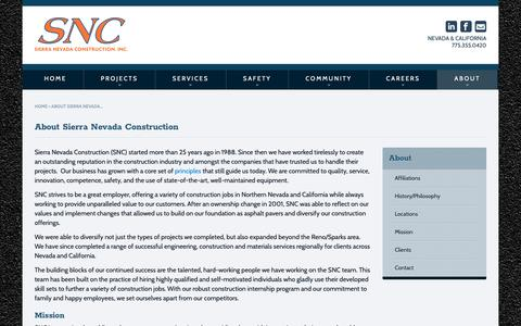 Screenshot of About Page snc.biz - Sierra Nevada Construction - About Us - Paving, Civil Construction, More - captured Oct. 2, 2018