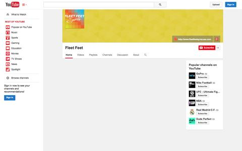 Screenshot of YouTube Page youtube.com - Fleet Feet  - YouTube - captured Oct. 23, 2014