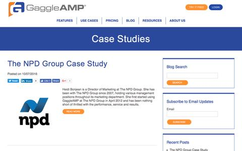 Screenshot of Case Studies Page gaggleamp.com captured Oct. 9, 2016
