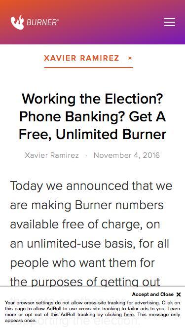 Screenshot of Blog  burnerapp.com - Blog — Burner: Free Phone Number, Temporary Disposable Numbers