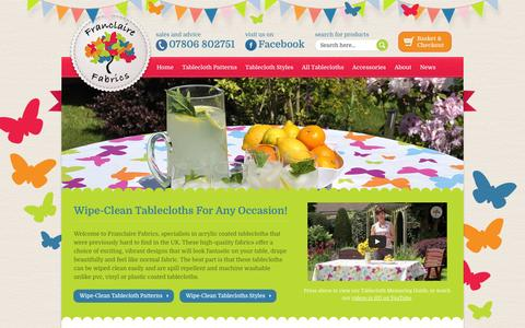 Screenshot of Home Page franclaire.co.uk - Wipeable Tablecloths from Franclaire Fabrics | Wipeable Tablecloths & Accessories from Franclaire Fabrics - captured Oct. 6, 2014