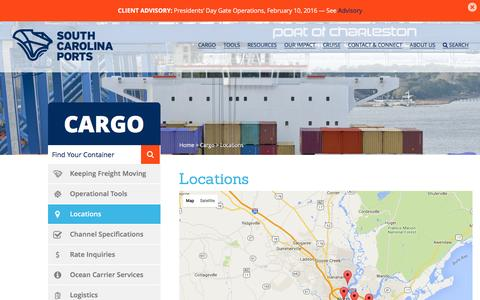 Screenshot of Locations Page scspa.com - Locations | SC Ports Authority - captured Feb. 13, 2016