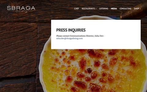 Screenshot of Press Page sbragadining.com - Press Inquiries - Sbraga Dining - captured Jan. 23, 2016
