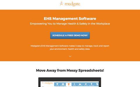Screenshot of Landing Page medgate.com - EHS Management Software Solution - captured June 8, 2017