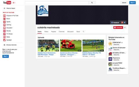 Screenshot of YouTube Page youtube.com - culebrita macheteada  - YouTube - captured Nov. 3, 2014