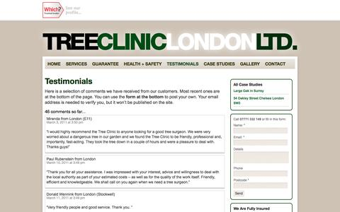 Screenshot of Testimonials Page treeclinic.co.uk - Testimonials - The Tree Clinic London Ltd - captured Oct. 7, 2014