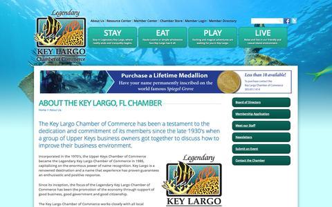 Screenshot of About Page keylargochamber.org - About The Key Largo, FL Chamber | Key Largo Chamber of Commerce | Key Largo, FL - captured Oct. 6, 2014