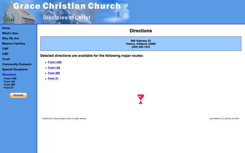 Screenshot of Maps & Directions Page gracechristianchurch.org - Grace Christian Church - Disciples of Christ - captured June 14, 2016