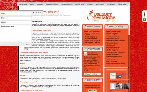 Screenshot of Privacy Page sensorydecisions.com - You and your information - Sensory Decisions privacy policy - captured Sept. 30, 2014