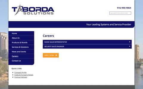 Screenshot of Jobs Page tabordasolutions.com - Careers – Taborda Solutions - captured Nov. 2, 2017