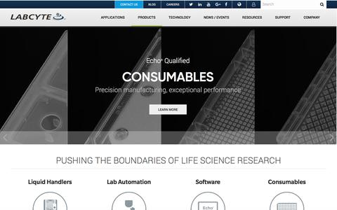 Screenshot of Products Page labcyte.com - Products Overview   Labcyte Inc. - captured July 27, 2018