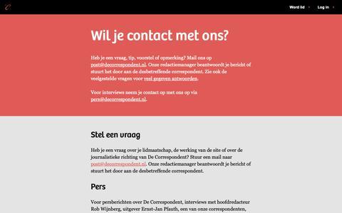 Screenshot of Contact Page decorrespondent.nl - Contact - De Correspondent - captured Oct. 8, 2018