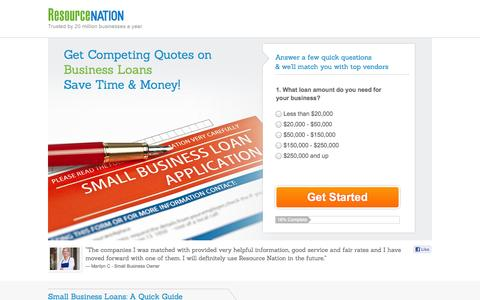 Screenshot of Landing Page resourcenation.com - Free small business loan quotes - small business loans for startup capital & expansion or acquisition pricing - captured Oct. 27, 2014