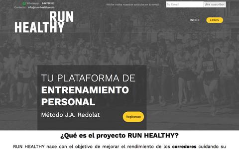 Screenshot of Home Page run-healthy.com - Run Healthy Project: Entrenamiento Personal Running - captured March 15, 2018