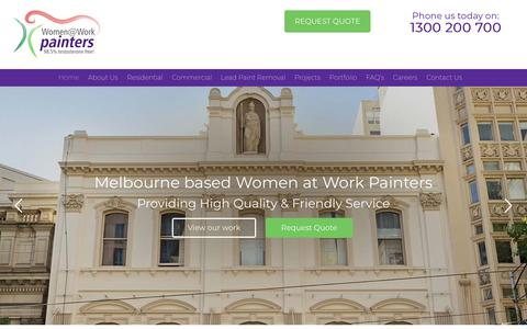 Screenshot of Home Page womenatwork.com.au - Painters Melbourne | Commercial Painter, House Painting | Women at Work - captured July 1, 2018