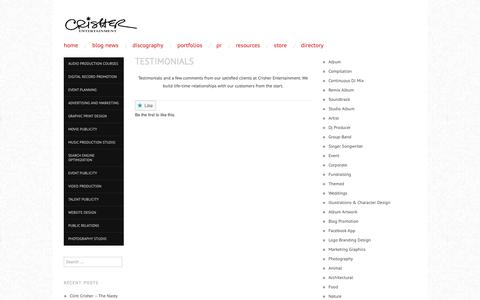 Screenshot of Testimonials Page wordpress.com - Testimonials | Crisher Entertainment - captured Dec. 8, 2018