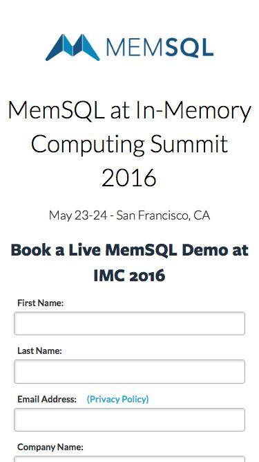 MemSQL @ In-Memory Computing Summit