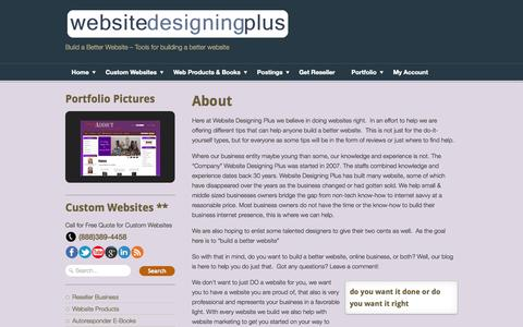 Screenshot of About Page websitedesigningplus.com - About Website Designing Plus and Contact Us FOrm - captured Oct. 1, 2014