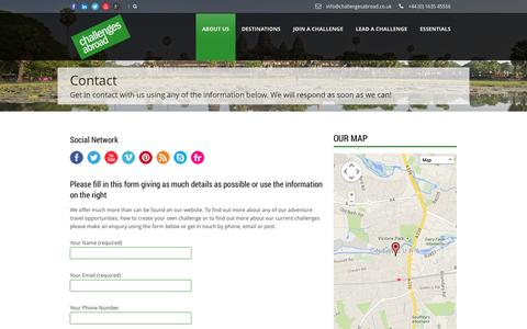Screenshot of Contact Page challengesabroad.co.uk - Challenges Abroad UK  Contact » Challenges Abroad UK - captured Sept. 29, 2014