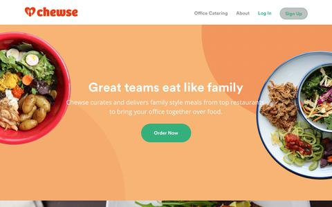 Screenshot of Home Page chewse.com - Chewse | Office Catering - captured Feb. 24, 2018