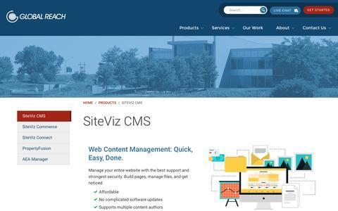Screenshot of Products Page globalreach.com - SiteViz CMS | Build a Website | Global Reach | Global Reach - captured Dec. 26, 2016