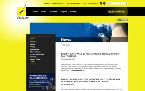 Screenshot of Press Page diakont.com - News | Diakont - captured Sept. 30, 2014