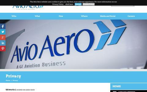 Screenshot of Privacy Page avioaero.com - Privacy / Home - Avioaero - captured Dec. 18, 2018