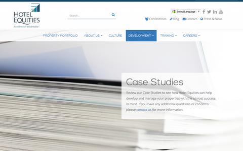 Screenshot of Case Studies Page hotelequities.com - Our Hotel Management Case Studies - captured Dec. 13, 2015