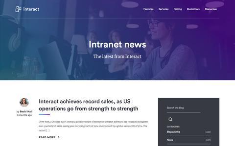 Screenshot of Press Page interact-intranet.com - News | Interact software - captured Feb. 27, 2018