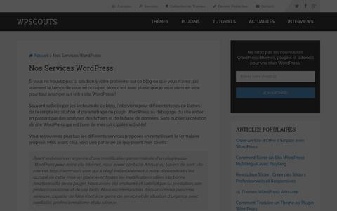 Screenshot of Services Page wpscouts.com - Services WordPress : Création, Personnalisation, Maintenance - captured Jan. 29, 2016