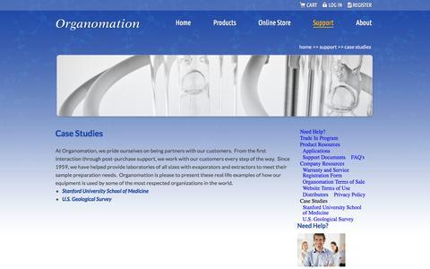 Screenshot of Case Studies Page organomation.com - Case Studies | Organomation - captured Oct. 26, 2014
