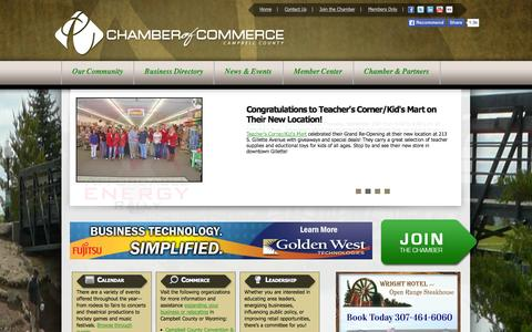 Screenshot of Home Page gillettechamber.com - Campbell County Chamber of Commerce | Gillette, WY - captured Oct. 1, 2014