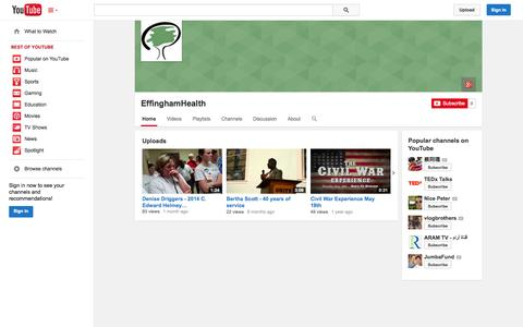 Screenshot of YouTube Page youtube.com - EffinghamHealth  - YouTube - captured Oct. 22, 2014