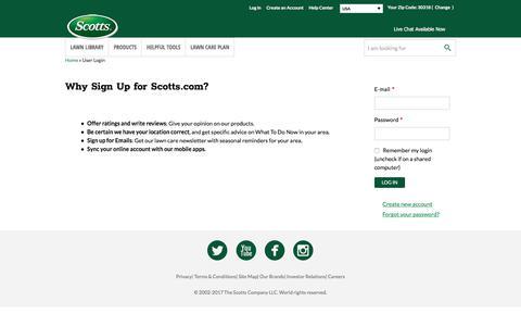 Screenshot of Login Page scotts.com - User Login   Scotts - captured July 2, 2017