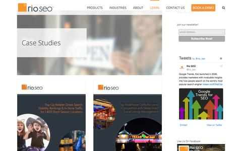 Screenshot of Case Studies Page rioseo.com - Local Search, Mobile SEO and SEO Automation Platform Case Studies - captured Dec. 23, 2017