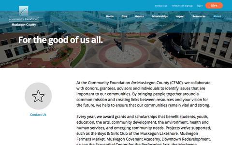 Screenshot of About Page cffmc.org - About Us | Community Foundation <em>for</em> Muskegon County - captured Nov. 9, 2016