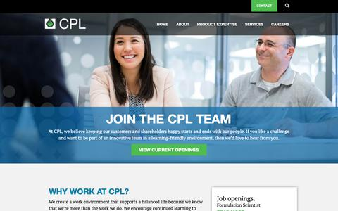 Screenshot of Jobs Page cplltd.com - Careers At CPL | Contract Pharmaceuticals Limited - captured Sept. 29, 2018