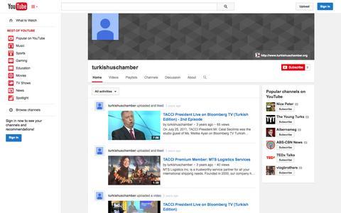 Screenshot of YouTube Page youtube.com - turkishuschamber  - YouTube - captured Oct. 26, 2014