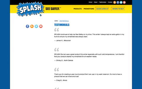 Screenshot of Testimonials Page splashwash.com - SPLASH Products Inc. Testimonials | SPLASH Product Reviews - captured Oct. 3, 2014