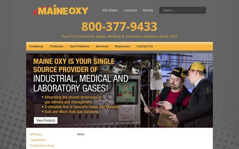Screenshot of Press Page maineoxy.com - News - Maine Oxy | Specialty Gases and Welding Supplies - captured May 26, 2017