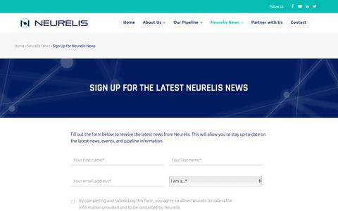 Screenshot of Signup Page neurelis.com - Sign Up for Neurelis Company News - captured Oct. 20, 2018