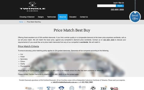 Screenshot of Pricing Page twinklediamonds.com.au - Price Match Policy - Twinkle Diamonds - captured Dec. 21, 2016
