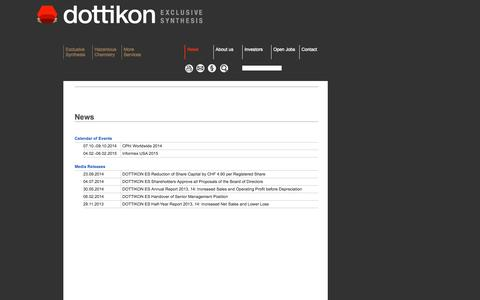 Screenshot of Press Page dottikon.com - Dottikon - Producer of Fine Chemicals and Organic Intermediates, Custom Synthesis for Chemical and Pharmaceutical Industry, Waste Disposal and Recycling - captured Oct. 5, 2014