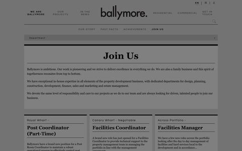 Screenshot of Jobs Page ballymoregroup.com - Join Us - Our work is pioneering and we strive to deliver excellence in everything we do | Ballymore - captured Sept. 27, 2018