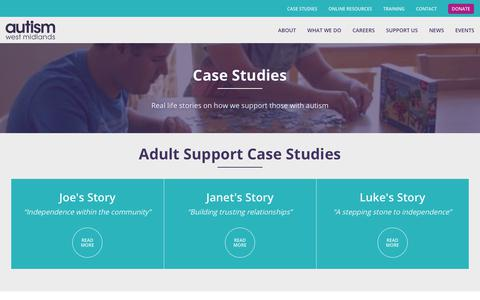 Screenshot of Case Studies Page autismwestmidlands.org.uk - Case Studies | Autism West Midlands - captured March 27, 2019