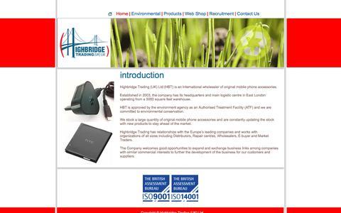 Screenshot of Home Page hbtltd.co.uk - Highbridge Trading UK Ltd. - captured Aug. 12, 2017