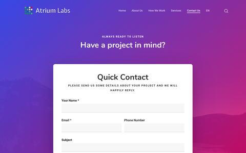 Screenshot of Contact Page atriumlabs.com - Contact Us - Atrium Labs - captured Oct. 1, 2018